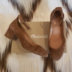 Madewell Inez ankle-strap suede shoes w/ studs